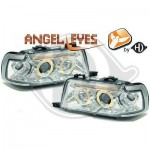 Phare design chrome angel eyes audi 80