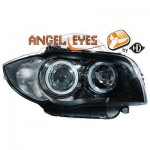 Phares design Angel eyes noir BMW serie 1