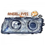 Phares design chrome Angel Eyes BMW E38