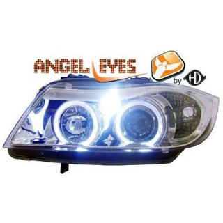 Phares design angel eyes chrome BMW E90 série 3
